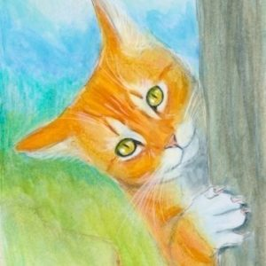 2019-09-003 Cat Pencil ACEO Painting