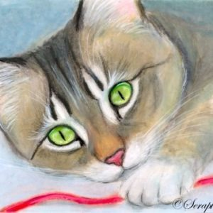 2019-09-005 Cat Pencil ACEO Painting