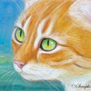 2019-09-010 Ginger Cat Pencil ACEO Painting
