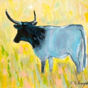 2019-09-015 Cow ACEO Acrylic Painting