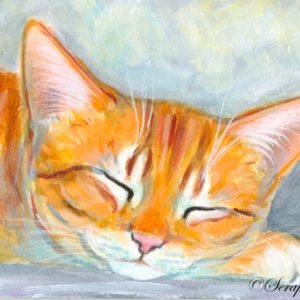 2019-09-018 Sleeping Cat ACEO Acrylic Miniature Painting