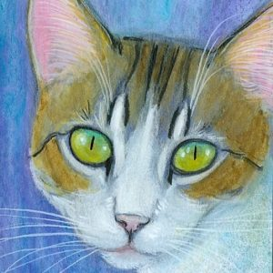 2019-10-009 Tabby Cat ACEO Painting